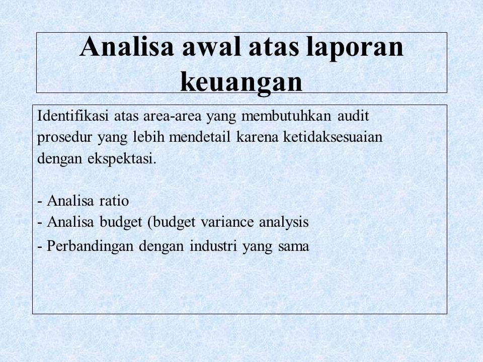 Analisa awal atas laporan keuangan Identifikasi atas area-area yang membutuhkan audit prosedur yang lebih mendetail karena ketidaksesuaian dengan eksp