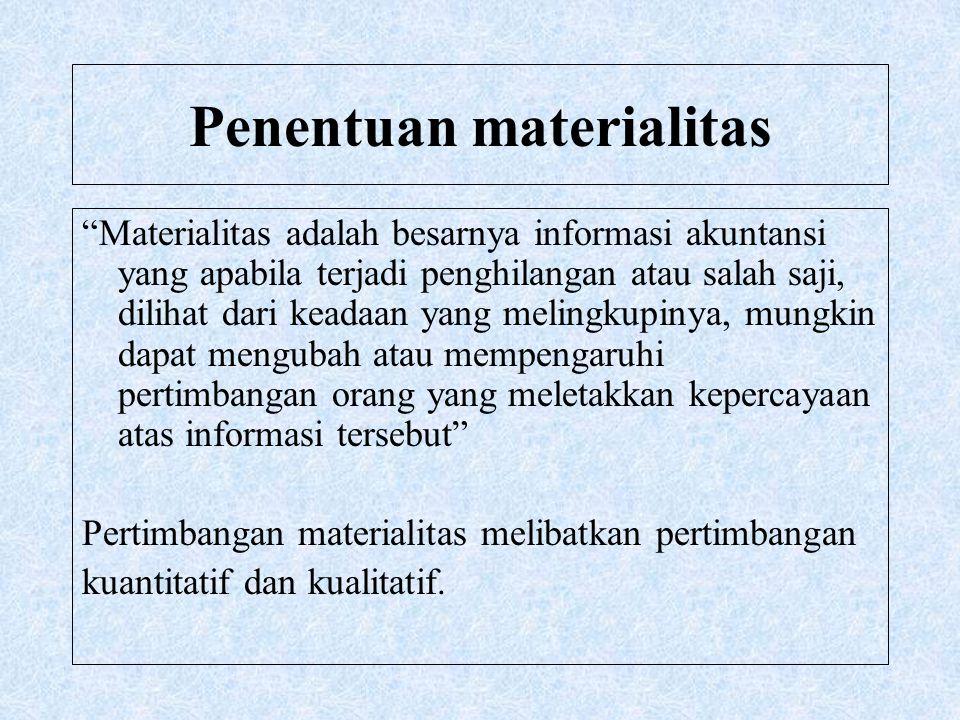"""Penentuan materialitas """"Materialitas adalah besarnya informasi akuntansi yang apabila terjadi penghilangan atau salah saji, dilihat dari keadaan yang"""
