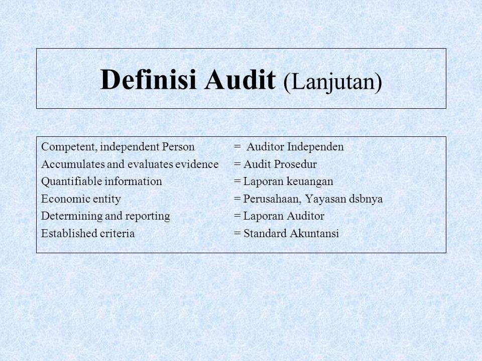 Definisi Audit (Lanjutan) Competent, independent Person = Auditor Independen Accumulates and evaluates evidence = Audit Prosedur Quantifiable informat