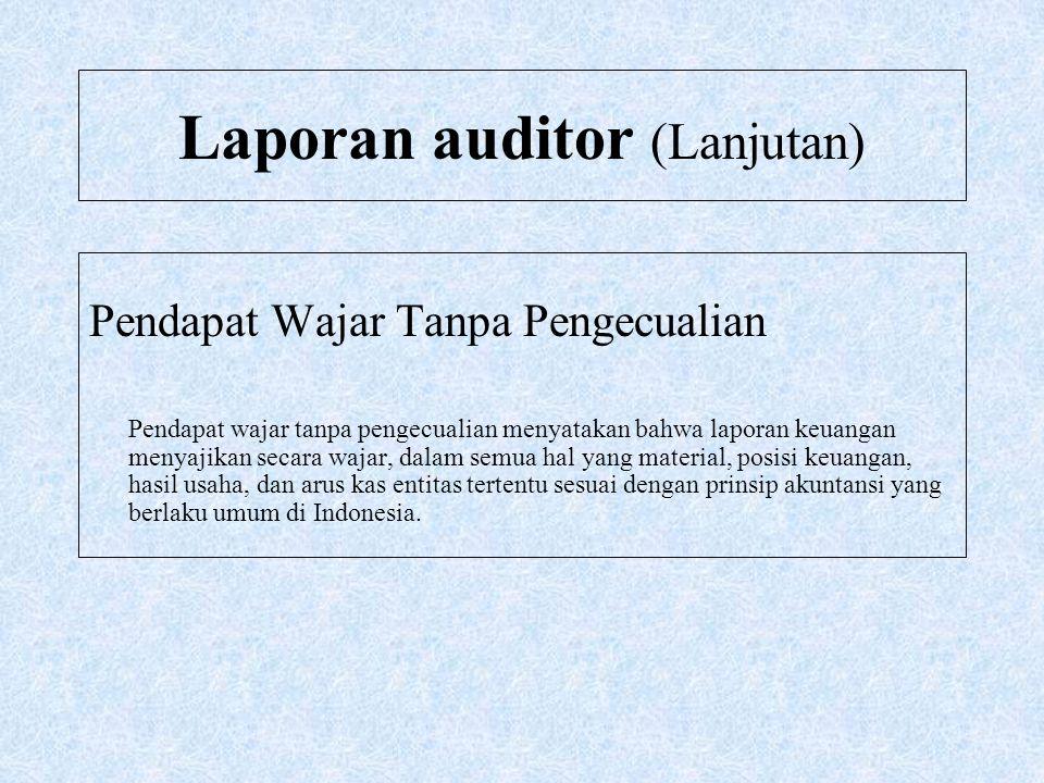 Laporan auditor (Lanjutan) Pendapat Wajar Tanpa Pengecualian Pendapat wajar tanpa pengecualian menyatakan bahwa laporan keuangan menyajikan secara waj