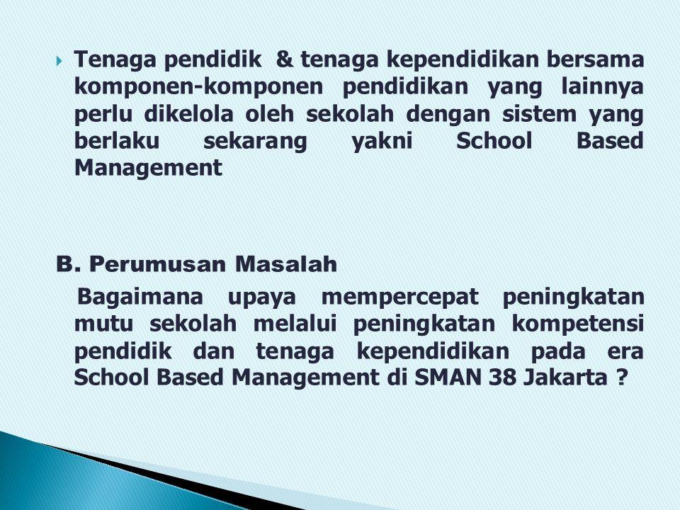  Tenaga pendidik & tenaga kependidikan bersama komponen-komponen pendidikan yang lainnya perlu dikelola oleh sekolah dengan sistem yang berlaku sekarang yakni School Based Management B.