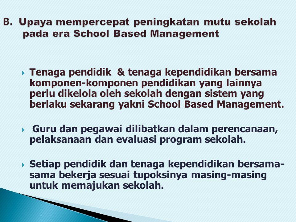  Tenaga pendidik & tenaga kependidikan bersama komponen-komponen pendidikan yang lainnya perlu dikelola oleh sekolah dengan sistem yang berlaku sekarang yakni School Based Management.