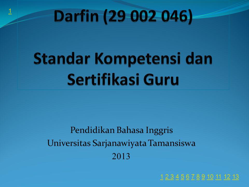 Pendidikan Bahasa Inggris Universitas Sarjanawiyata Tamansiswa 2013 1 11 2 3 4 5 6 7 8 9 10 11 12 132 345678910111213