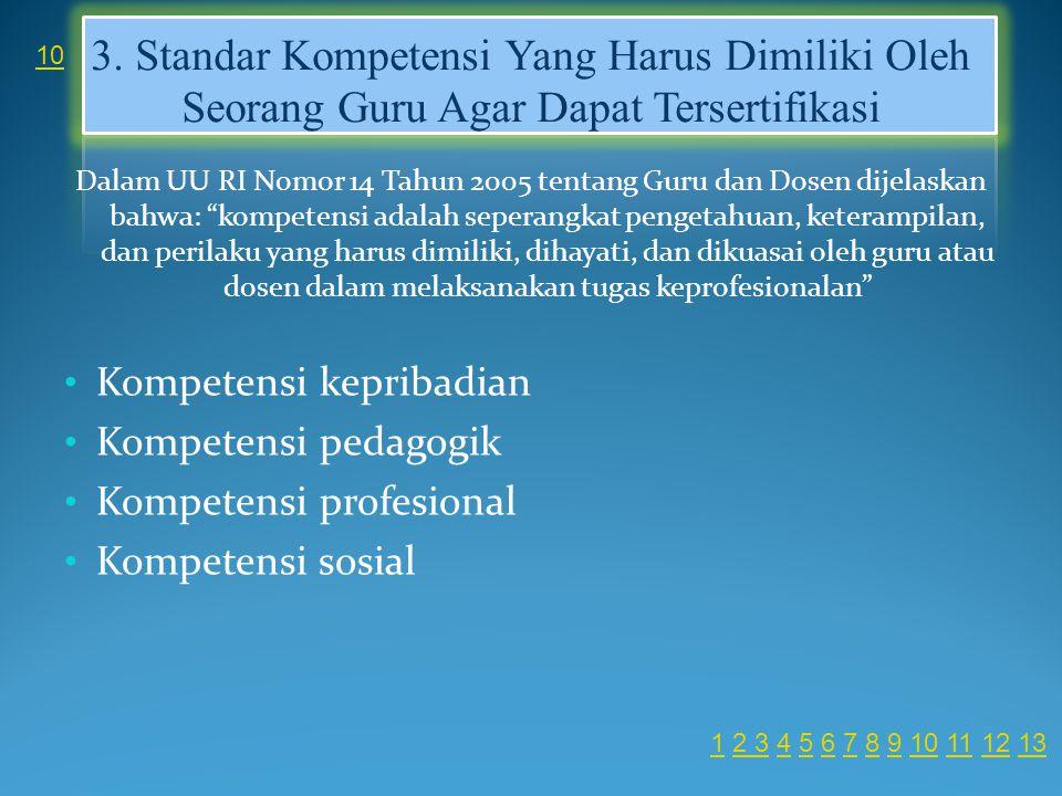 3. Standar Kompetensi Yang Harus Dimiliki Oleh Seorang Guru Agar Dapat Tersertifikasi Dalam UU RI Nomor 14 Tahun 2005 tentang Guru dan Dosen dijelaska