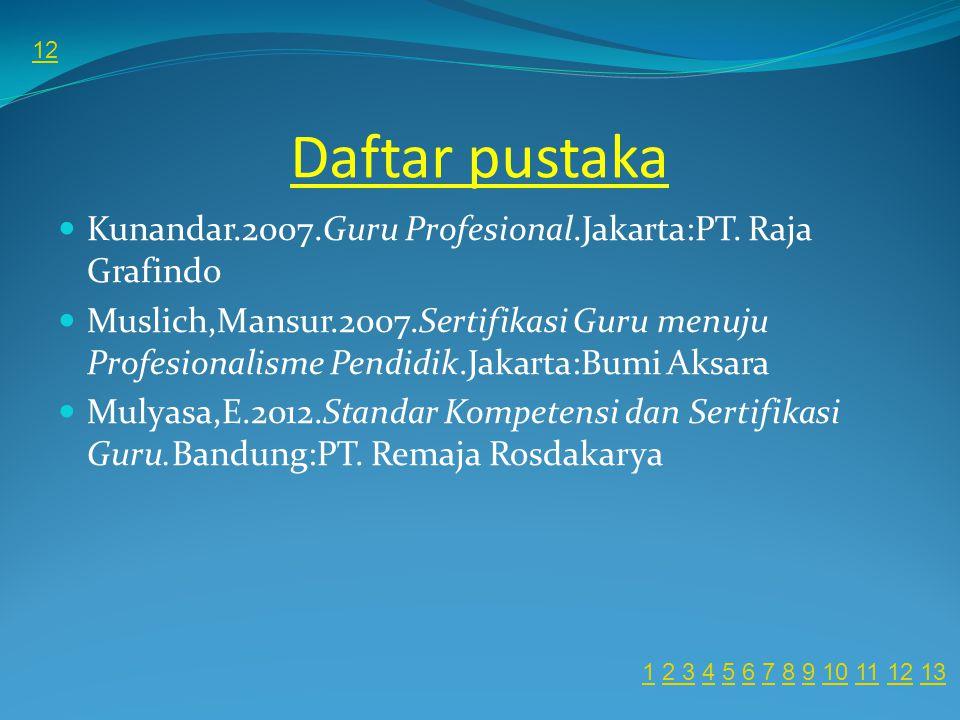 Daftar pustaka Kunandar.2007.Guru Profesional.Jakarta:PT.
