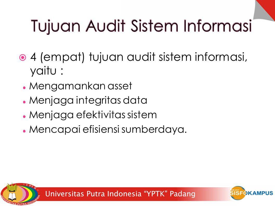  4 (empat) tujuan audit sistem informasi, yaitu : Mengamankan asset Menjaga integritas data Menjaga efektivitas sistem Mencapai efisiensi sumberdaya.