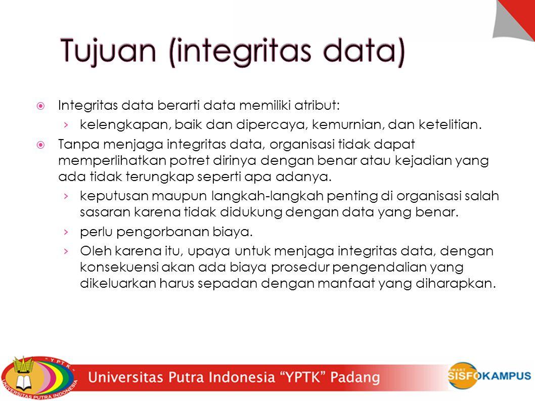  Integritas data berarti data memiliki atribut: › kelengkapan, baik dan dipercaya, kemurnian, dan ketelitian.  Tanpa menjaga integritas data, organi