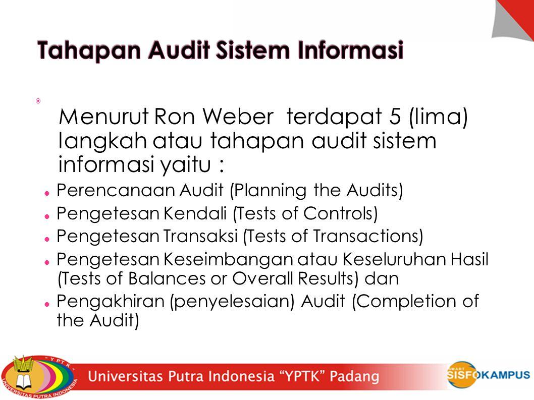  Menurut Ron Weber terdapat 5 (lima) langkah atau tahapan audit sistem informasi yaitu : Perencanaan Audit (Planning the Audits)  Pengetesan Kendali (Tests of Controls)  Pengetesan Transaksi (Tests of Transactions)  Pengetesan Keseimbangan atau Keseluruhan Hasil (Tests of Balances or Overall Results) dan Pengakhiran (penyelesaian) Audit (Completion of the Audit) 