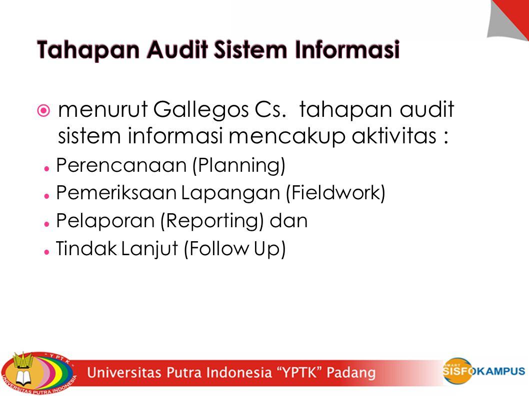  menurut Gallegos Cs. tahapan audit sistem informasi mencakup aktivitas : Perencanaan (Planning)  Pemeriksaan Lapangan (Fieldwork)  Pelaporan (Repo