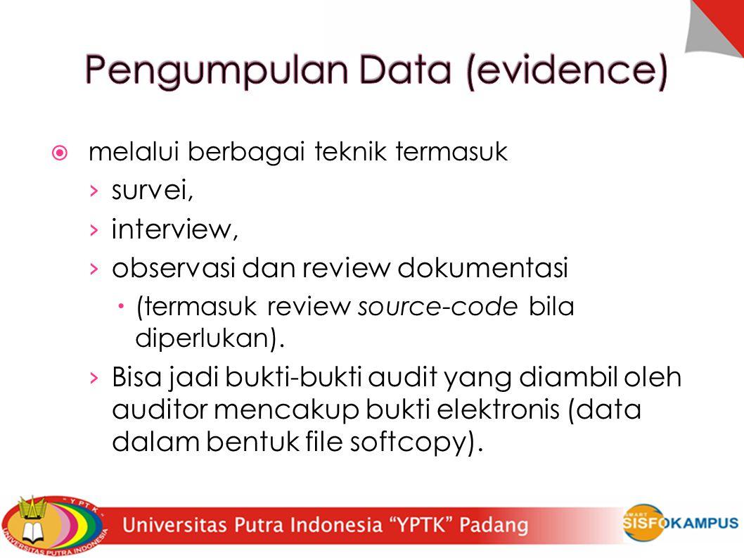  melalui berbagai teknik termasuk › survei, › interview, › observasi dan review dokumentasi  (termasuk review source-code bila diperlukan).