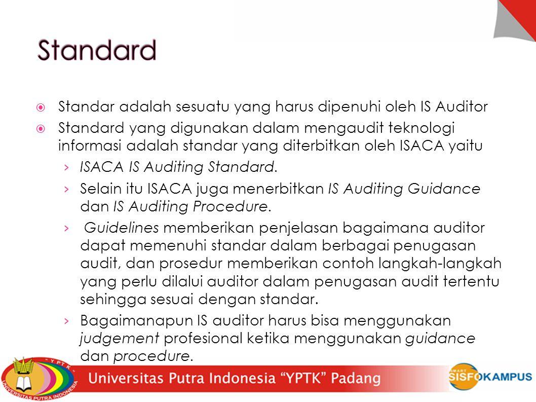  Standar adalah sesuatu yang harus dipenuhi oleh IS Auditor  Standard yang digunakan dalam mengaudit teknologi informasi adalah standar yang diterbi