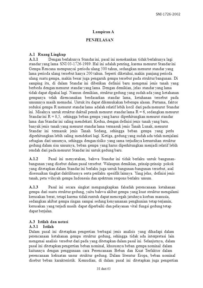 SNI-1726-2002 Lampiran A PENJELASAN A.1 Ruang Lingkup A.1.1 Dengan berlakunya Standar ini, pasal ini menekankan tidak berlakunya lagi standar yang lam