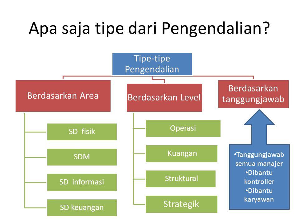 Apa saja tipe dari Pengendalian? Tipe-tipe Pengendalian Berdasarkan Area SD fisik SDM SD informasi SD keuangan Berdasarkan Level Operasi Kuangan Struk