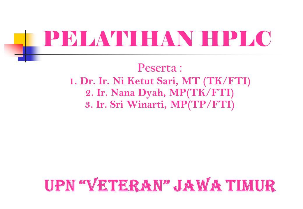 "PELATIHAN HPLC Peserta : 1. Dr. Ir. Ni Ketut Sari, MT (TK/FTI) 2. Ir. Nana Dyah, MP(TK/FTI) 3. Ir. Sri Winarti, MP(TP/FTI) UPN ""Veteran"" Jawa Timur"