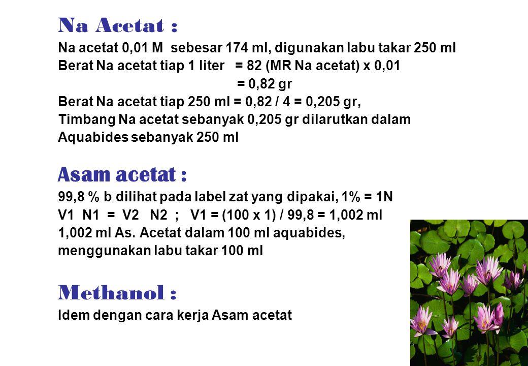 Na Acetat : Na acetat 0,01 M sebesar 174 ml, digunakan labu takar 250 ml Berat Na acetat tiap 1 liter = 82 (MR Na acetat) x 0,01 = 0,82 gr Berat Na ac