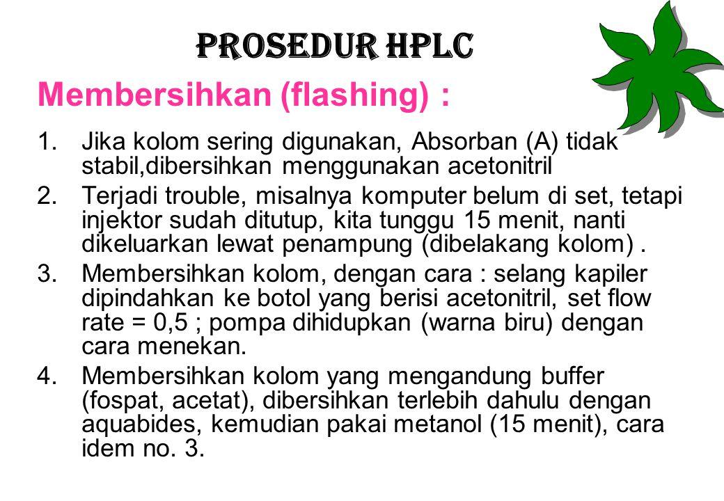 Prosedur HPLC Membersihkan (flashing) : 1.Jika kolom sering digunakan, Absorban (A) tidak stabil,dibersihkan menggunakan acetonitril 2.Terjadi trouble