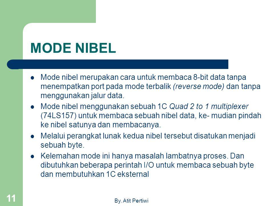 By. Atit Pertiwi 11 MODE NIBEL Mode nibel merupakan cara untuk membaca 8-bit data tanpa menempatkan port pada mode terbalik (reverse mode) dan tanpa m