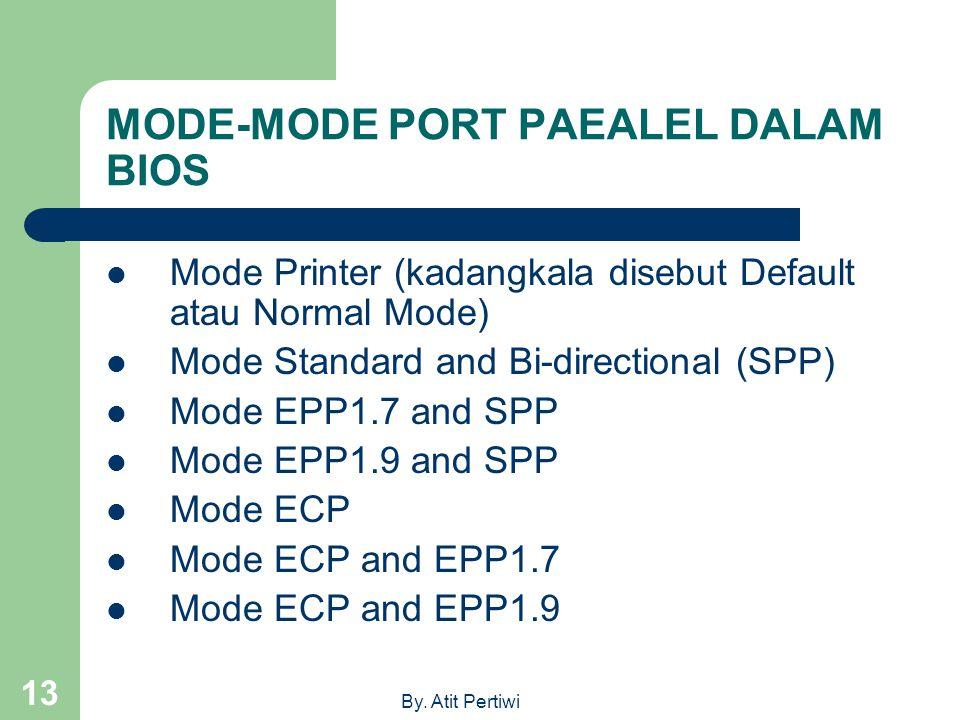 By. Atit Pertiwi 13 MODE-MODE PORT PAEALEL DALAM BIOS Mode Printer (kadangkala disebut Default atau Normal Mode) Mode Standard and Bi-directional (SPP