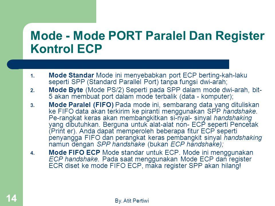 By. Atit Pertiwi 14 Mode - Mode PORT Paralel Dan Register Kontrol ECP 1. Mode Standar Mode ini menyebabkan port ECP berting-kah-laku seperti SPP (Stan