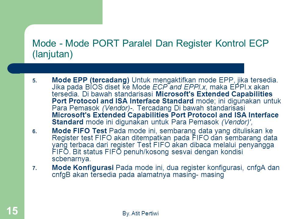 By. Atit Pertiwi 15 Mode - Mode PORT Paralel Dan Register Kontrol ECP (lanjutan) 5. Mode EPP (tercadang) Untuk mengaktifkan mode EPP, jika tersedia. J