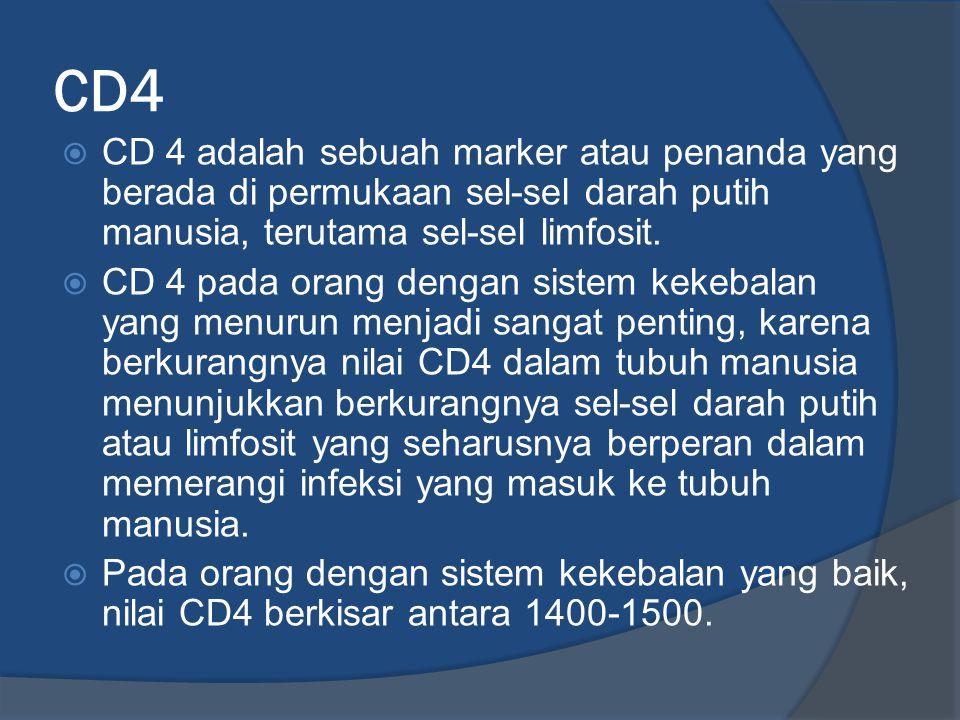 CD4  CD 4 adalah sebuah marker atau penanda yang berada di permukaan sel-sel darah putih manusia, terutama sel-sel limfosit.  CD 4 pada orang dengan