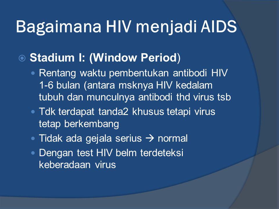 Bagaimana HIV menjadi AIDS  Stadium I: (Window Period) Rentang waktu pembentukan antibodi HIV 1-6 bulan (antara msknya HIV kedalam tubuh dan munculny