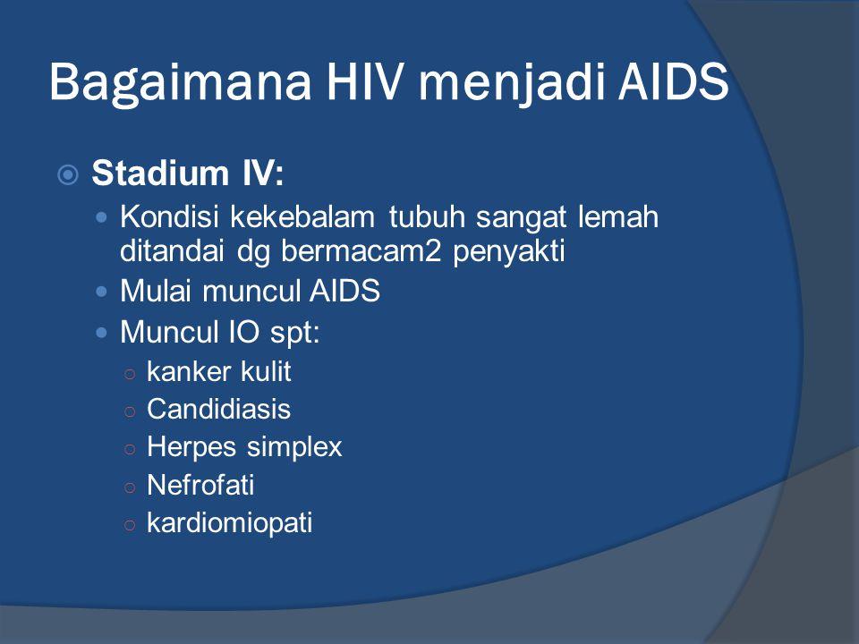 Bagaimana HIV menjadi AIDS  Stadium IV: Kondisi kekebalam tubuh sangat lemah ditandai dg bermacam2 penyakti Mulai muncul AIDS Muncul IO spt: ○ kanker