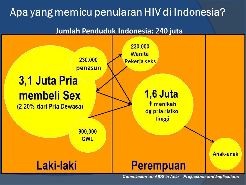 Commission on AIDS in Asia – Projections and Implications Apa yang memicu penularan HIV di Indonesia? PerempuanLaki-laki 3,1 Juta Pria membeli Sex (2-