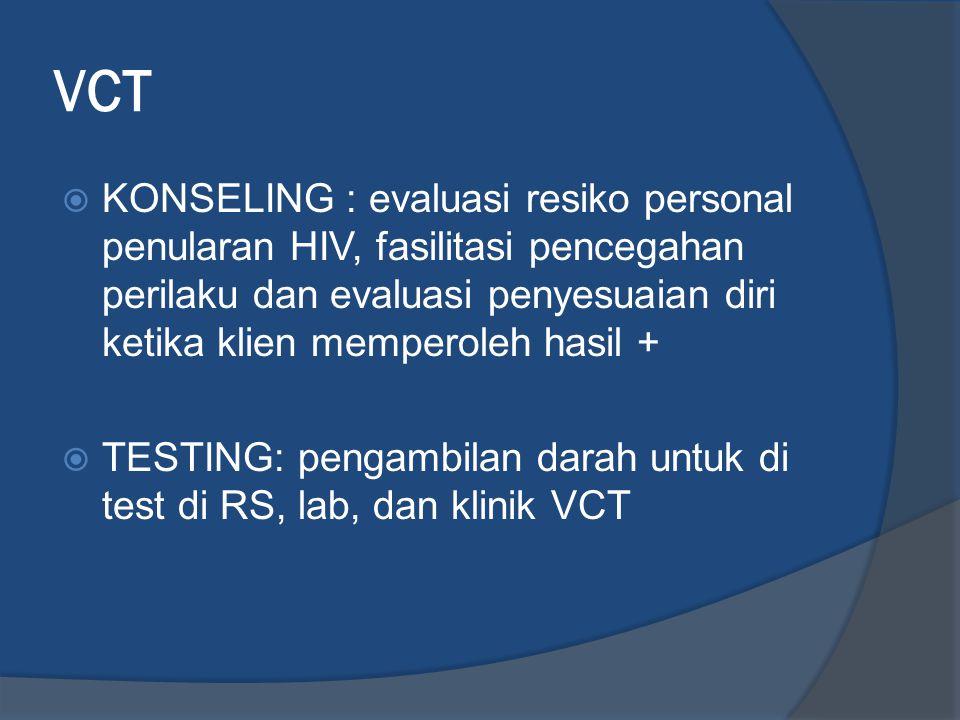 VCT  KONSELING : evaluasi resiko personal penularan HIV, fasilitasi pencegahan perilaku dan evaluasi penyesuaian diri ketika klien memperoleh hasil +
