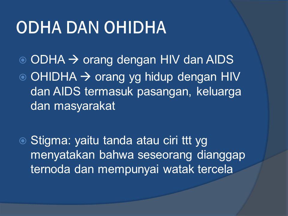 ODHA DAN OHIDHA  ODHA  orang dengan HIV dan AIDS  OHIDHA  orang yg hidup dengan HIV dan AIDS termasuk pasangan, keluarga dan masyarakat  Stigma: