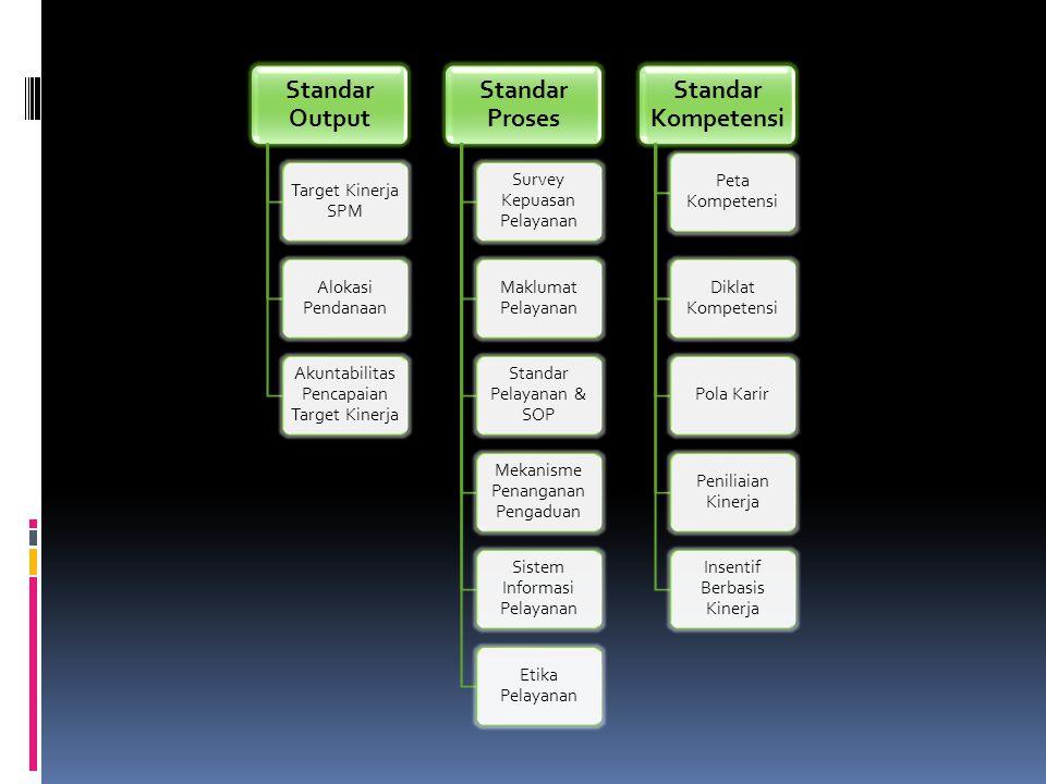 Standar Output Target Kinerja SPM Alokasi Pendanaan Akuntabilitas Pencapaian Target Kinerja Standar Proses Survey Kepuasan Pelayanan Maklumat Pelayanan Standar Pelayanan & SOP Mekanisme Penanganan Pengaduan Sistem Informasi Pelayanan Etika Pelayanan Standar Kompetensi Peta Kompetensi Diklat Kompetensi Pola Karir Peniliaian Kinerja Insentif Berbasis Kinerja