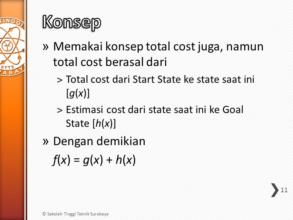 » Memakai konsep total cost juga, namun total cost berasal dari ˃Total cost dari Start State ke state saat ini [g(x)] ˃Estimasi cost dari state saat ini ke Goal State [h(x)] » Dengan demikian f(x) = g(x) + h(x) 11 © Sekolah Tinggi Teknik Surabaya