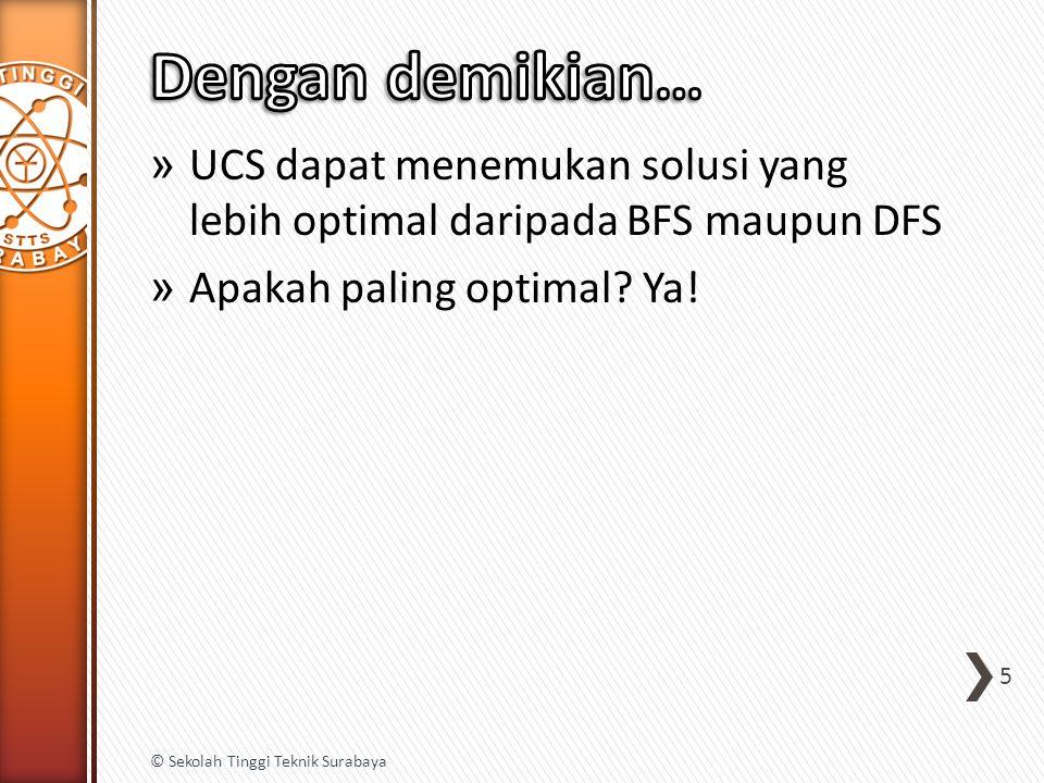 » UCS dapat menemukan solusi yang lebih optimal daripada BFS maupun DFS » Apakah paling optimal.