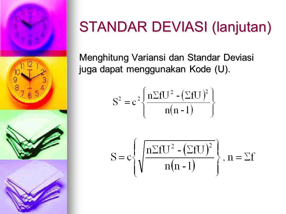 STANDAR DEVIASI (lanjutan) Menghitung Variansi dan Standar Deviasi juga dapat menggunakan Kode (U).