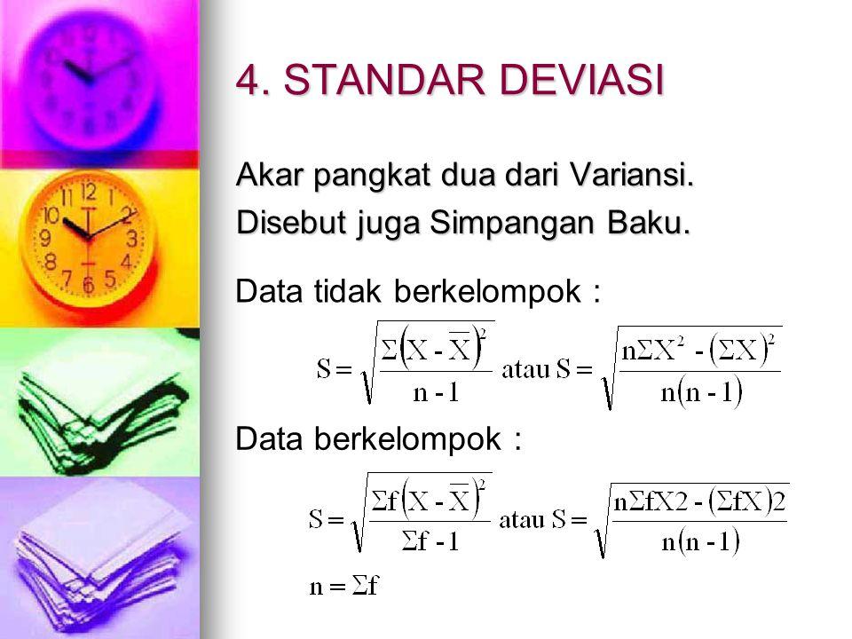 4. STANDAR DEVIASI Akar pangkat dua dari Variansi. Disebut juga Simpangan Baku. Data tidak berkelompok : Data berkelompok :