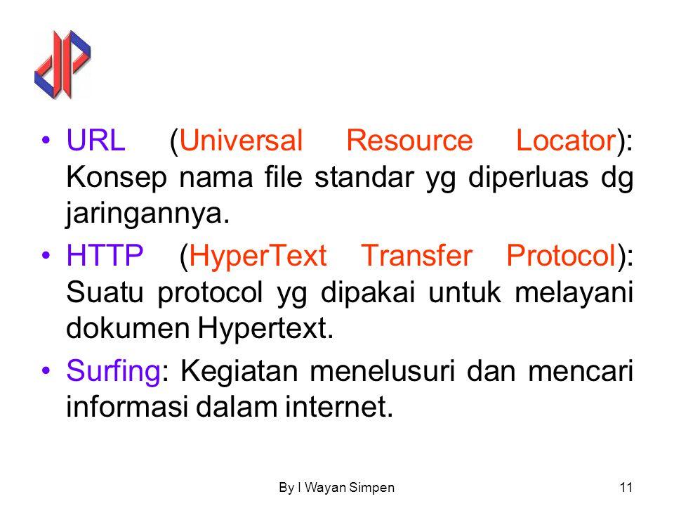 By I Wayan Simpen11 URL (Universal Resource Locator): Konsep nama file standar yg diperluas dg jaringannya. HTTP (HyperText Transfer Protocol): Suatu