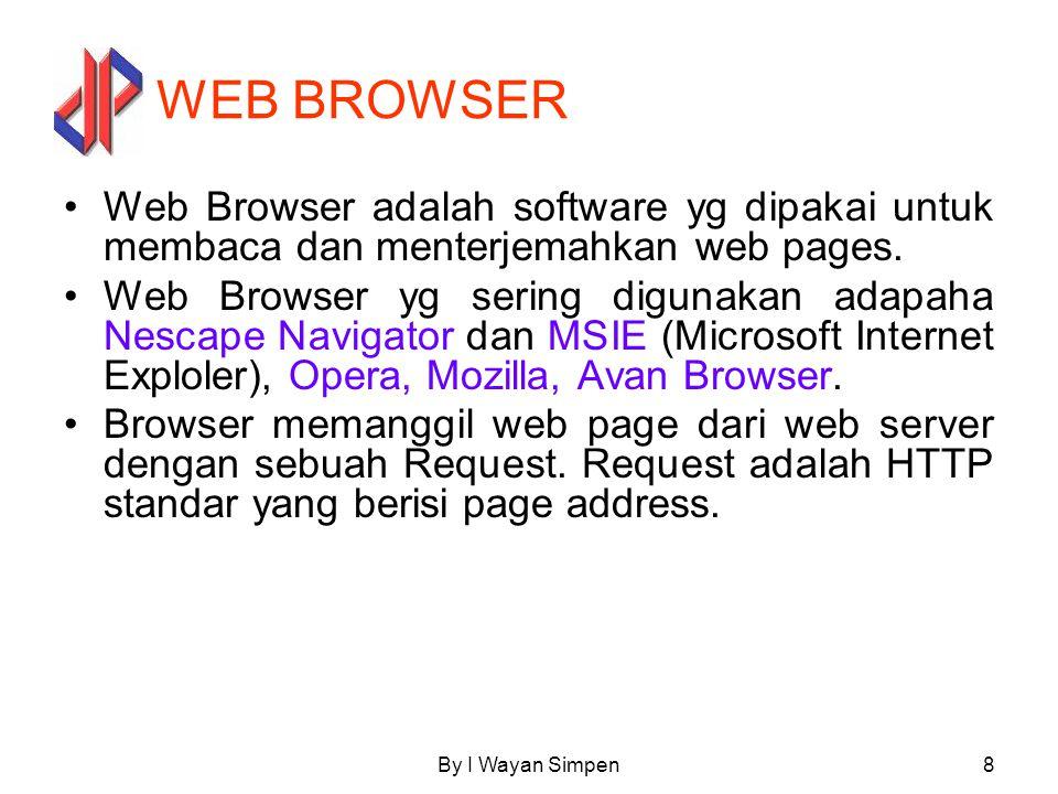 By I Wayan Simpen8 WEB BROWSER Web Browser adalah software yg dipakai untuk membaca dan menterjemahkan web pages. Web Browser yg sering digunakan adap