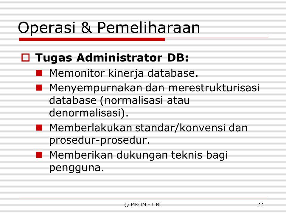 © MKOM – UBL11 Operasi & Pemeliharaan  Tugas Administrator DB: Memonitor kinerja database. Menyempurnakan dan merestrukturisasi database (normalisasi