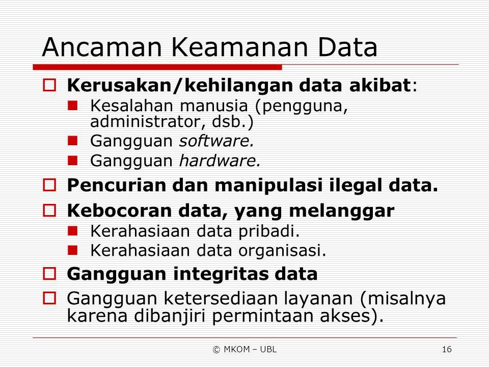 © MKOM – UBL16 Ancaman Keamanan Data  Kerusakan/kehilangan data akibat: Kesalahan manusia (pengguna, administrator, dsb.) Gangguan software. Gangguan