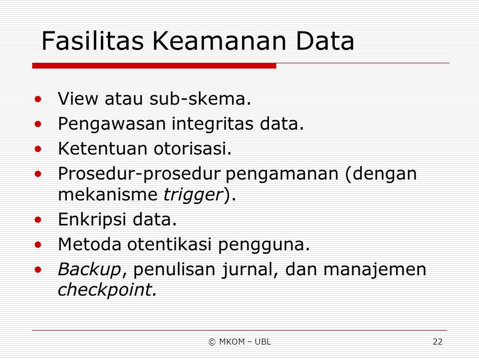 © MKOM – UBL22 Fasilitas Keamanan Data View atau sub-skema. Pengawasan integritas data. Ketentuan otorisasi. Prosedur-prosedur pengamanan (dengan meka