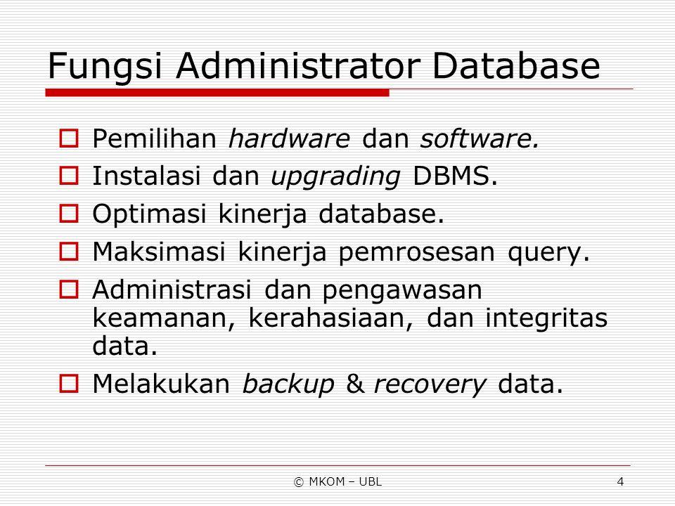 © MKOM – UBL4 Fungsi Administrator Database  Pemilihan hardware dan software.  Instalasi dan upgrading DBMS.  Optimasi kinerja database.  Maksimas