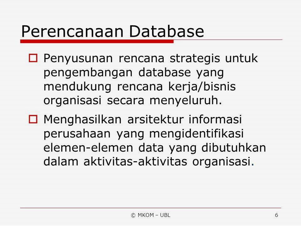 © MKOM – UBL7 Analisa Database  Proses identifikasi dan perumusan entitas-entitas data yang relevan bagi perusahaan serta hubungan diantaranya.
