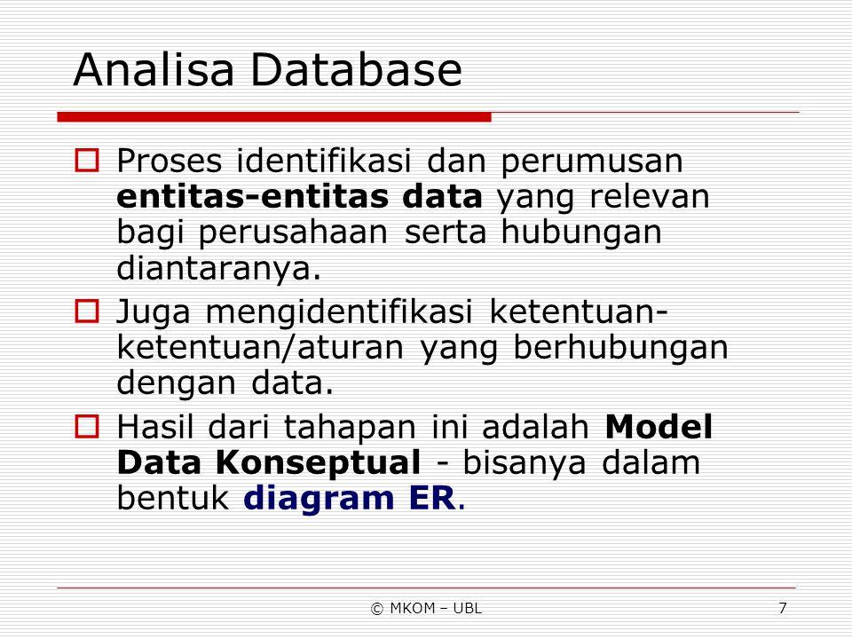 © MKOM – UBL7 Analisa Database  Proses identifikasi dan perumusan entitas-entitas data yang relevan bagi perusahaan serta hubungan diantaranya.  Jug