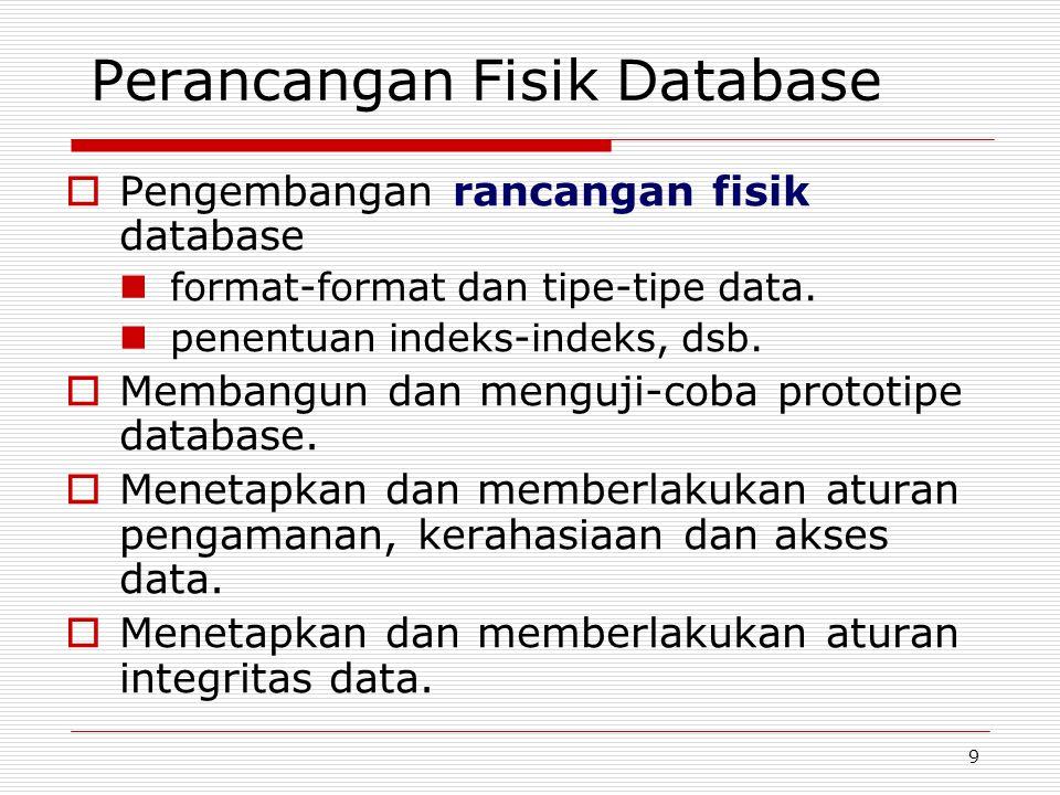 9 Perancangan Fisik Database  Pengembangan rancangan fisik database format-format dan tipe-tipe data. penentuan indeks-indeks, dsb.  Membangun dan m