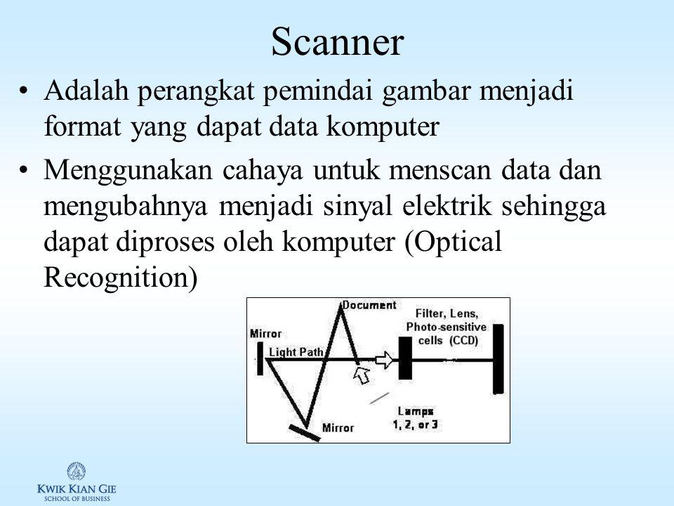 Optical Recognition Menggunakan sinar untuk menscan data dan merubahnya menjadi sinyal elektronik Optical Recognition pada point of sales Digunakan un