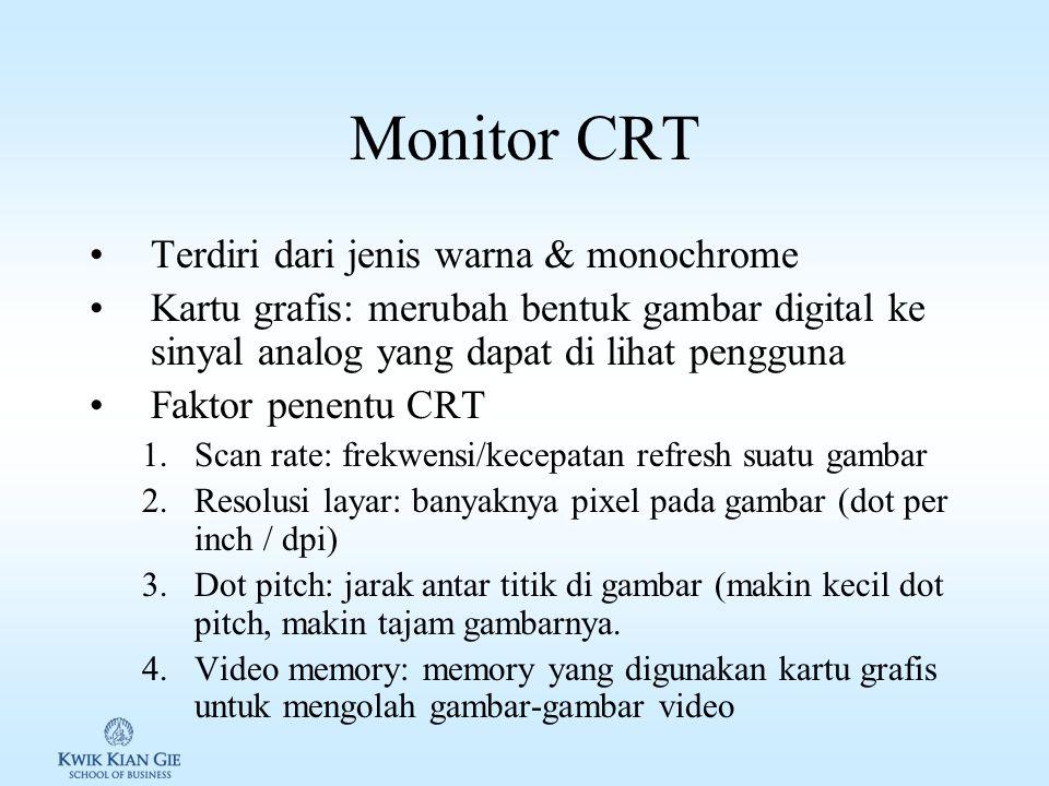 Monitor/Layar Monitor/Layar digunakan komputer untuk menampilkan informasi ke pengguna Jenis monitor/layar: 1.CRT (Cathode Ray Tube) 2.Flat Screen / L