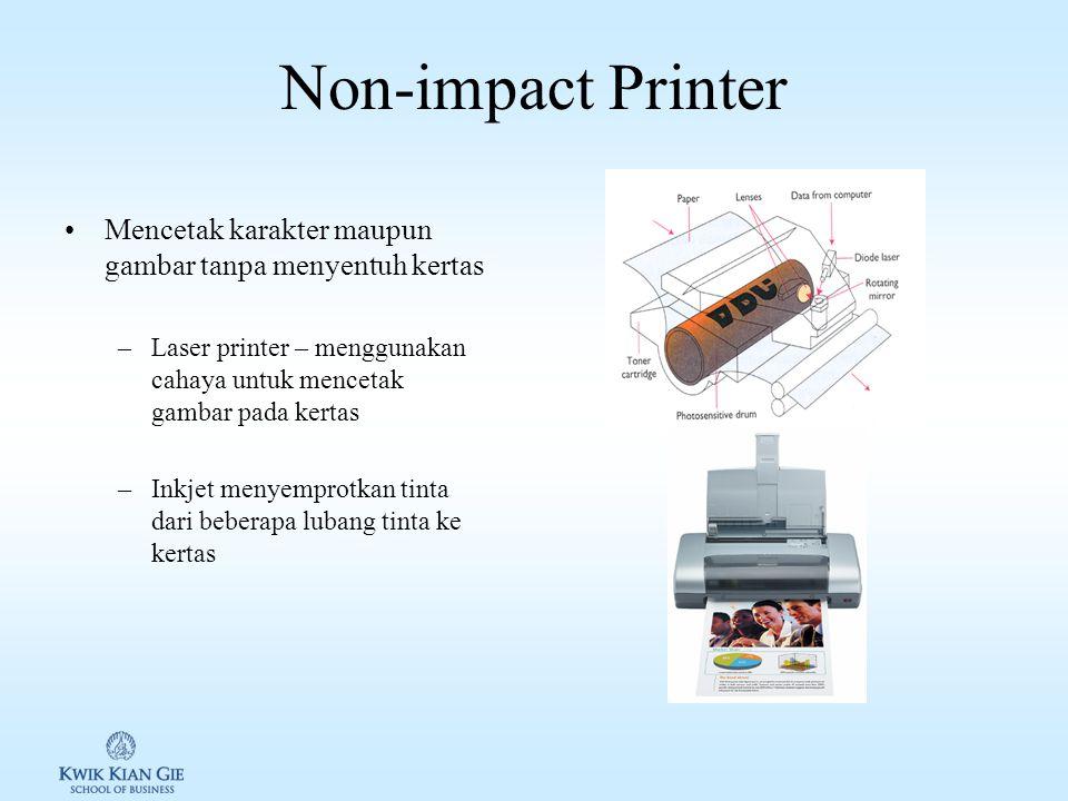 Impact Printer Impact printer membutuhkan kontak fisik untuk menghasilkan gambar. Jenis Impact printer: 1.Line printer: menjadi 1 baris dalam bersamaa
