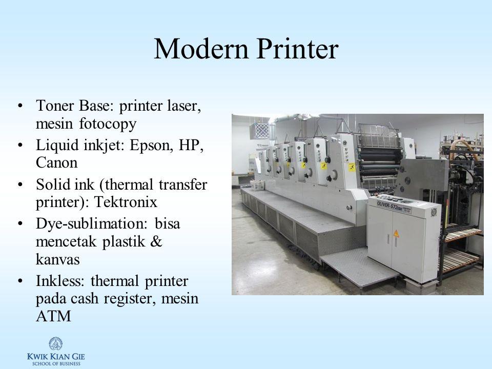 Non-impact Printer Mencetak karakter maupun gambar tanpa menyentuh kertas –Laser printer – menggunakan cahaya untuk mencetak gambar pada kertas –Inkje