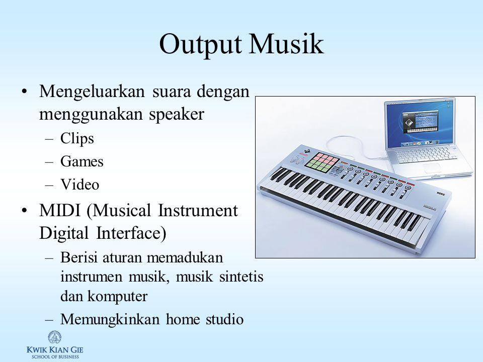 Output Suara Voice synthesizers: perangkat yang digunakan untuk mengkonversi suara dalam format digital ke sinyal / bunyi. 2 cara membuat komputer ber