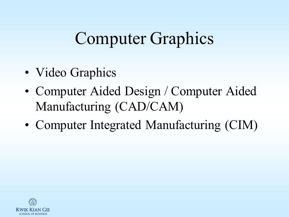 Komputer grafis 1.Bisnis –Membuat grafis berwarna, peta & diagram sesuai data 2.Video grafis Membuat animasi Video game 3.Computer aided design/comput